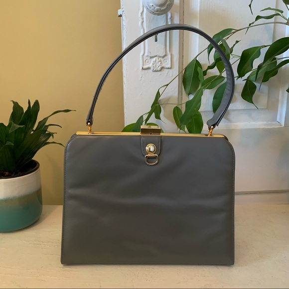 Vintage 50s/60s Leather Grey Clasp and Hinge Purse